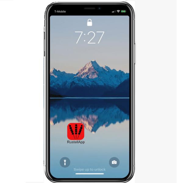 schermo dell'Iphone con l'icona di RustellApp