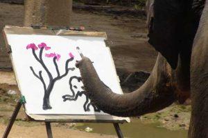 elefante dipinge