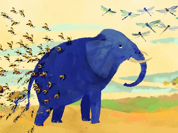 disegno con elefante blu, libellule e farfalle